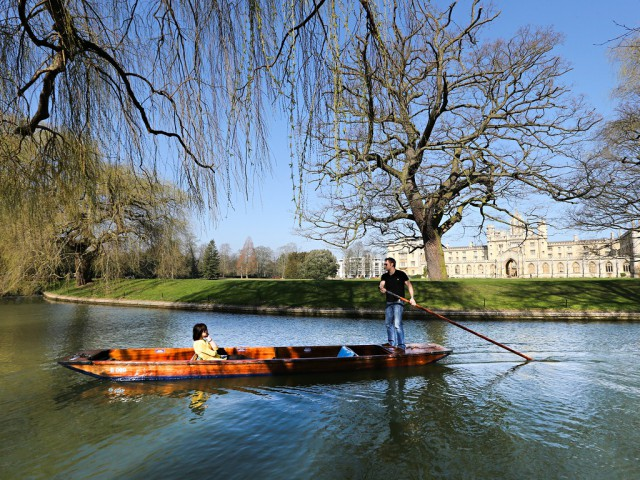 Punting on the river Cam on the hottest day of the year so far